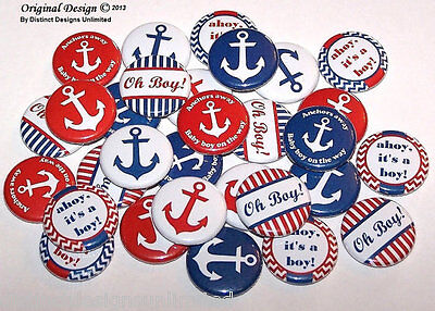 Ahoy It's A Boy Nautical Theme Baby Shower Pins Buttons Party Favors -Set of 30](Nautical Baby Shower Theme)