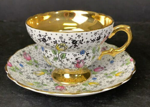 Rosina Teacup and Saucer June 4974 Tulips Heavy Gold Trim