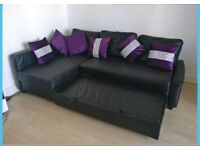 Stunning Black Leather Corner Sofa bed. Only £300 *Free Delivery & Free Assembly*