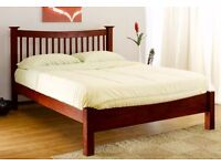 """REDUCED!! - Walnut DOUBLE BED - 4'6"""" SOLID WOOD FRAME + FREE LOCAL DELIVERY"""