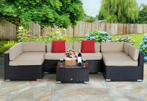 7 Piece Outdoor Rattan Conversation Patio Set