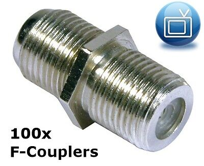 Pack of 100 F-Couplers / F-Joiners / Back to Back Connectors for joining 2 cable