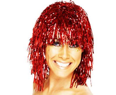 Metallic Red Tinsel Wig Cyber Disco Nu Rave Festival Lady Gaga Fancy Dress](Gaga Halloween Rave)