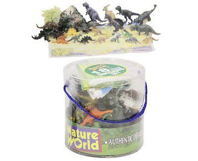 Tub of Dinosaurs Plastic Animals 18 pce Set T Rex + playmat New Childrens Toys
