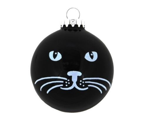 "Cat Face Christmas Tree Ornament Kitten Holiday Ornament (3"" Round Ball Design)"