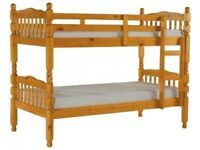 Melissa Quality Ornate Lovely Pine Bunk Beds WHITE or PINE to Clear from Warehouse