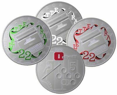 Italien 3 x 5 euro 2020 OLIVETTI LETTERA22 SCHREIBMASCHINE in 1 Originalfolder