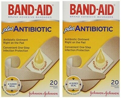 BAND-AID Plus Antibiotic Ointment Bandages, Assorted Sizes, 20 count (PACK OF 2)