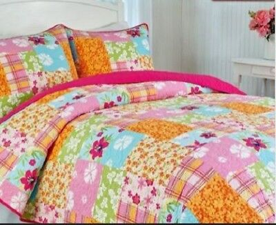Britannica Home Fashions Pretty Patch Quilt Set Full Size 2 Shams #LG