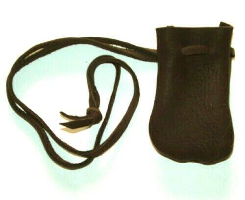 "Medicine Bag Smooth Top Grain Leather 2.5""x3.5""  32"" L Drawstring BLACK"