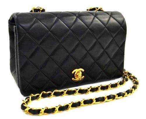 chanel handbag black lambskin ebay