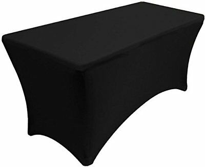 4 ft Black Table Cover Stretch Scrim Spandex Type DJ Table Skirt Facade Cover Up