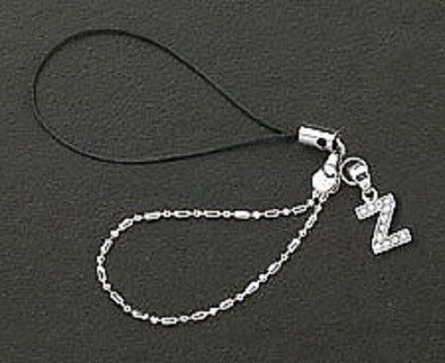 Dangle Letter Z Crystal Cell Phone Charm 925 Sterling Silver For Mobile Phone