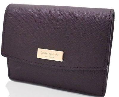 Kate Spade Petty Laurel Way Mahogany Mini Leather Wallet with Keyring Key ring