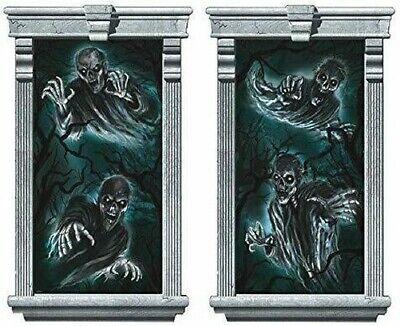 Halloween Casa Stregata Fantasmi/Ghouls Finestra Silhouette Decorazioni X 2