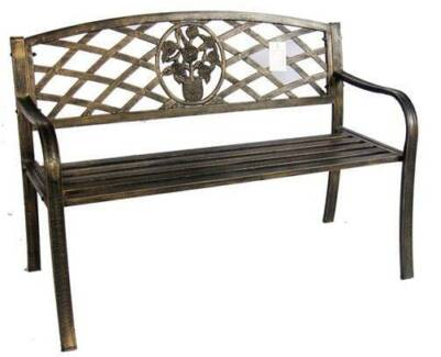 Banksia Outdoor Garden Bench with Potted Rose insert