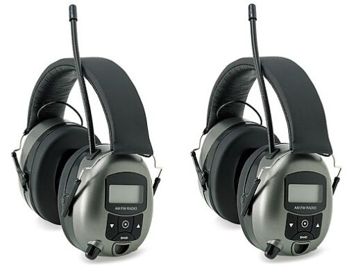 (2) Safety Works 10121816 Digital MP3/AM/FM Stereo Radio Hearing Protector Muffs