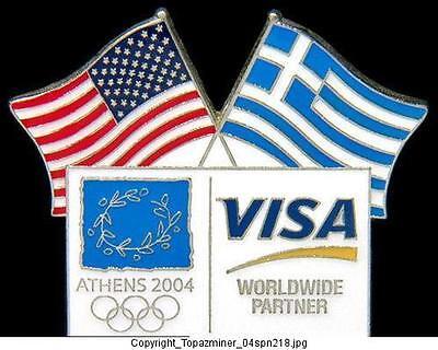 OLYMPIC PINS 2004 ATHENS GREECE VISA SPONSOR USA FLAGS