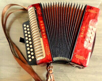 TOP Made in Germany Accordion Hohner  Erica C/F Diatonic and Straps