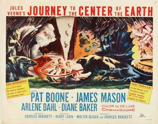 JOURNEY TO THE CENTER OF THE EARTH Movie POSTER 22x28 Half Sheet James Mason Pat