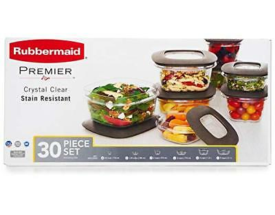 Rubbermaid Premier 30 Piece Food Storage Container Set Easy Find Lids Clear Gray