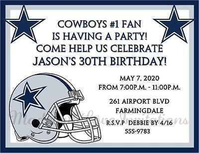 Dallas Cowboys Birthday Football Invitations Super Bowl