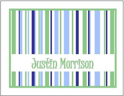 Blue/Green STRIPES #1 Personalized Note/Thank You cards