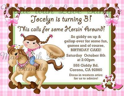 Cowgirl Party Invitations (10 - Horse Cowgirl Birthday Party Invitations Pink Horseshoe Boots)
