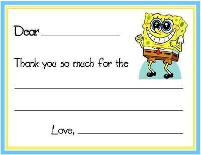 Spongebob Thank You Cards (Spongebob FILL IN ~ Custom Thank You)
