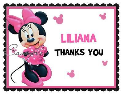 Dots Folded Note Cards (10 Minnie Mouse Birthday Folded Thank You Notes Cards Pink Polka Dot)