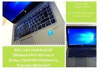 RRP £1465 16GB RAM HP EliteBook 840 i7 5th Gen 14 Inches, 256GB SSD Windows 10, Warranty