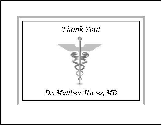 Medical DR or RN Note or Thank You Cards Style #2