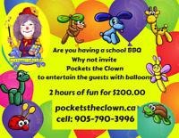 Do you need Animal Balloons for  your school BBQ?   Call Pockets