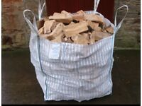 1ton bulk bag of dry seasoned hardwood firewood logs with free delivery and stacking £60
