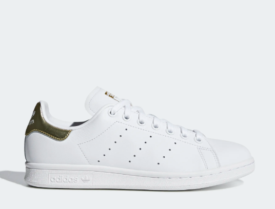 New Adidas Women's Stan Smith Shoes (EE8836) White / White-Gold Metallic