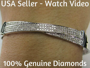 .92 CARAT GENUINE DIAMONDS WOMENS LADIES WHITE GOLD FINISH PAVE BRACELET BANGLE