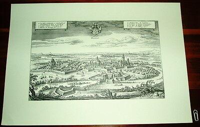 Hanau: alte Ansicht Merian Druck Stich 1650 Panorama