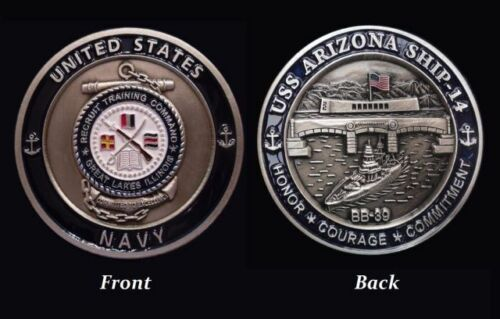 ~ USS Arizona ~ Ship 14 ~ US Navy Recruit Training Command Challenge Coin ~