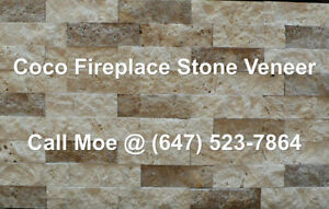 Coco Fireplace Stone Veneer Beige Brown Fireplace Wall Cladding