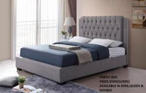 FABRIC BEDS WITH TUFTED HEADBOARD ON SALE (IF8)