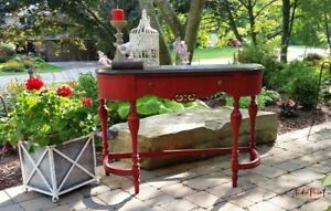 Painted and Refinished Red Jacobean Sofa Hall Table Desk