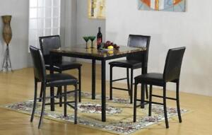 Brand newFaux marble pub set with 4 leather chairs $398 in stock