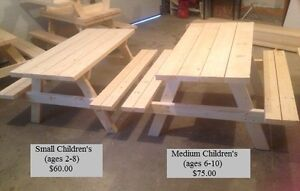 Hand-Made Children and Adult Picnic Tables