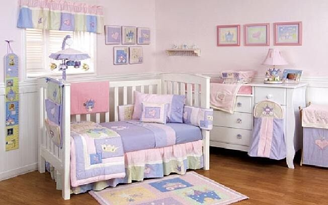 Baby Girl Camelot Cot / Cot Bed Bedding And Nursery Accessories, 14 Items