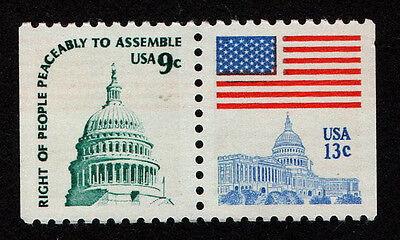 United States  Scott   1623D  Attached Pair Of Flag Over Capitol  Mnh Perf 11