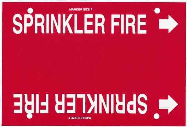 """Made in USA Pipe Marker with Fire Sprinkler Legend and Arrow Graphic 6 to 8"""" ..."""