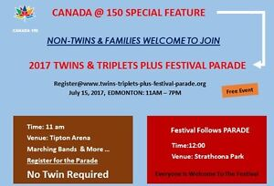 Non-Twins/Families Welcome to Join Twins Parade, July 15, 2017
