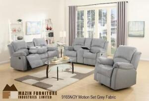 Recliner Set in Grey Fabric with Cupholders MA10 9165NGYUP (BD-1380)