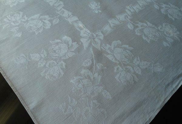 10 Large Antique Linen Double Damask Lapkin Napkins Ribbons Bows Roses Mono BE