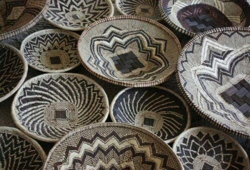 """African Decor Woven Tribal Neutral Flat Ethnic Large 16.5"""" Wall Display Basket"""